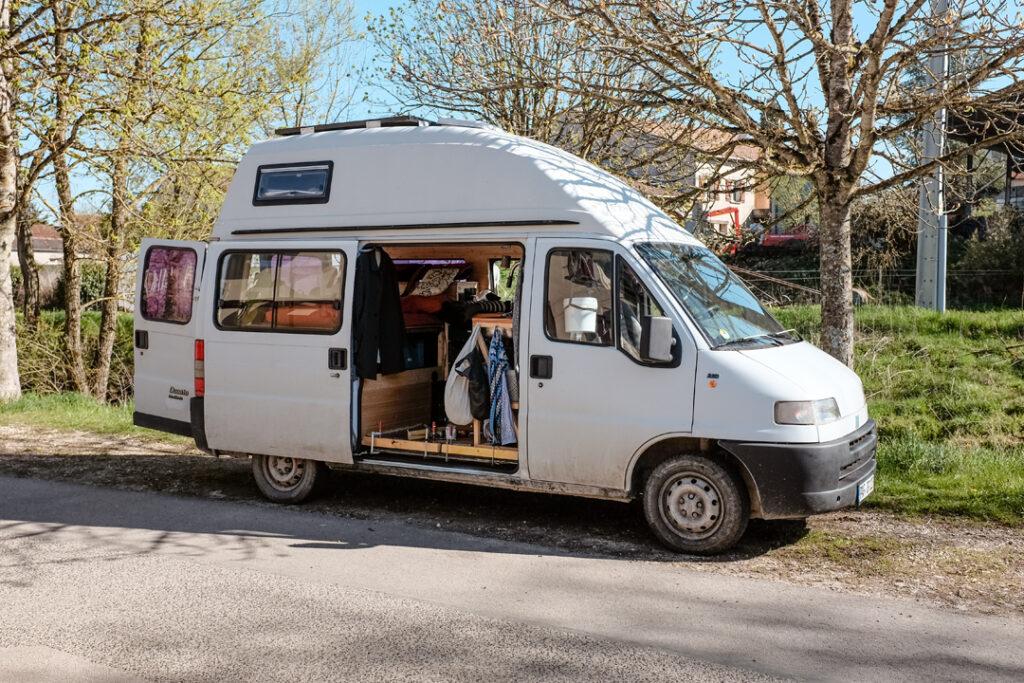 an open camper van