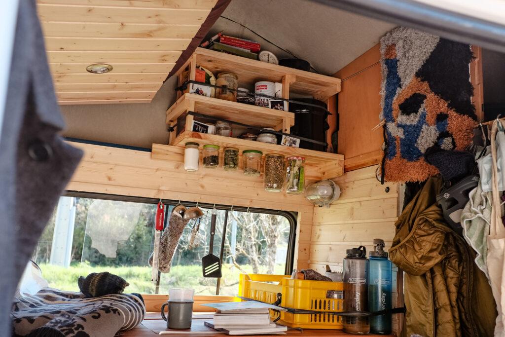 the inside of a camper van